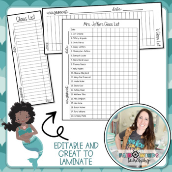 Editable Class Checklist
