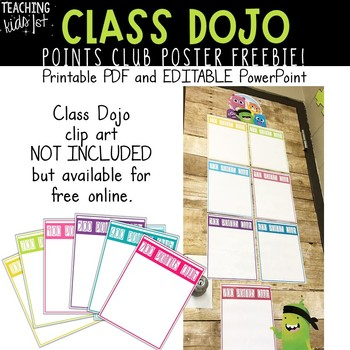Editable Class Dojo Points Club Posters FREEBIE
