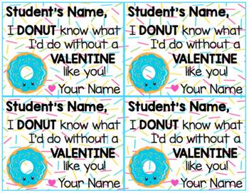 Editable Class Donut Valentines