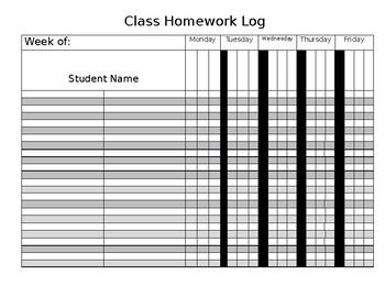 Editable Class Homework Log