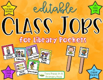 Class Jobs for Library Pockets w/ Editable Student Names- 400 Follower Freebie!