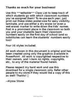 Editable Class List - Burlap