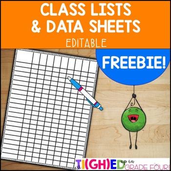 Editable Class List & Data Sheet FREEBIE