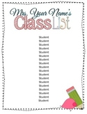 Editable Class List Poster