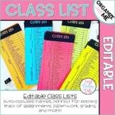 Editable Class List perfect for grading