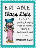 Editable Class Lists ~FREEBIE~