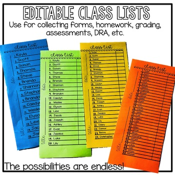 Editable Class Lists/ Checklists