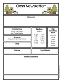 Editable Class Newletter - Life in the Forest