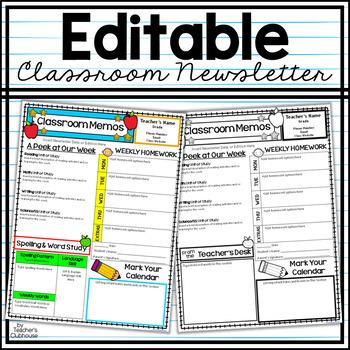 Editable Class Newsletter