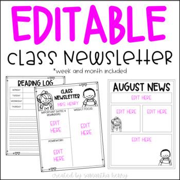 EDITABLE Class Newsletter (week & month)
