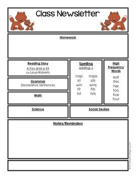 Editable Class Newsletter - A Fox and a Kit