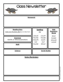 Editable Class Newsletter - Mole and Baby Bird