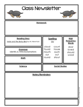 Editable Class Newsletter - Mole and Baby Bird