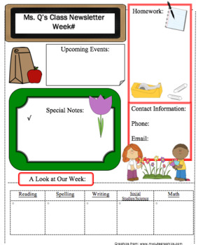 Editable Class Newsletter - Spring Theme