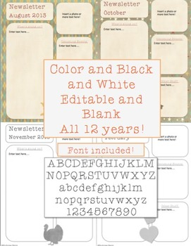 Editable Class Newsletter Templates - Color and B&W