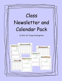 Editable Class Newsletter and Calendar Pack