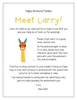 Editable Class Pet Letter and Journal Template