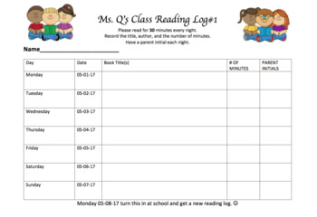 Editable Class Reading Log Template