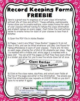 Editable Class Records FREEBIE