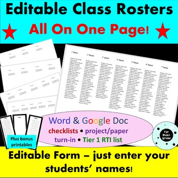 Editable Class Roster & Class Checklist - Back to School!