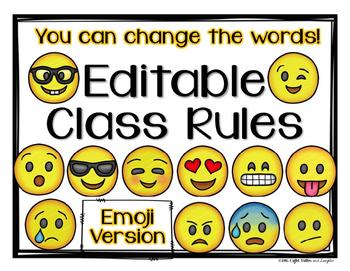 Editable Class Rules, Signs, Mottos -Emoji Theme