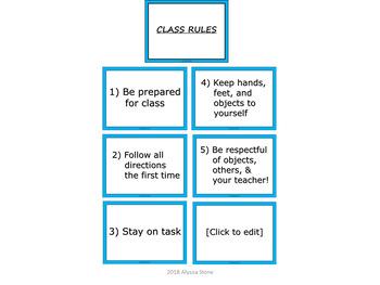 Editable Class Rules Poster Set - Aqua