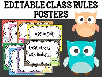 Editable Class Rules Posters : Patchwork Owls