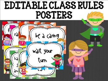 Editable Class Rules Signs Posters Cards Labels : Superheroes, super hero kids