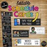 Daily Visual Schedule Cards with Editable Times & Words Chalkboard Organization