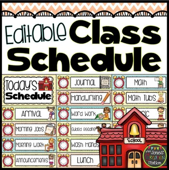 Editable Daily Schedule Cards {Chevron Classroom Set}