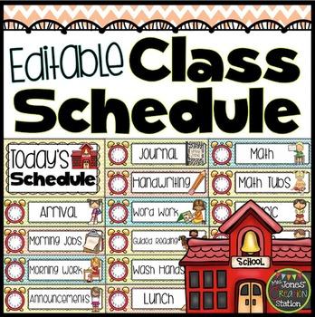 Editable Class Schedule {Chevron Classroom Set}