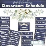 Editable Class Schedule Magnolia Farmhouse Classroom Decor