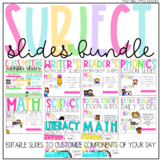 Editable Class Slides Bundle / Subject Slides | Distance Learning
