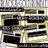 Editable Class Slides and Math Rotation Boards with Timers in Black and Gold
