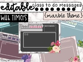 Editable Class Slides in Marble Theme with Timers - Morning Message PowerPoint