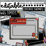 Editable Class Slides in Sports Theme with Timers - Morning Message PowerPoint