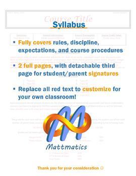 Editable Class Syllabus