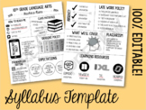 Editable Class Syllabus Template: Back to School Night, Class Information, etc.