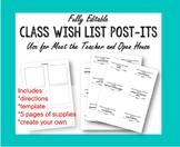 Editable Class Wish List Printable Post-Its