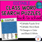 Editable Class Word Search Puzzle Templates- printable & digital