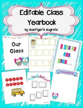 Editable Class Yearbook End of the Year