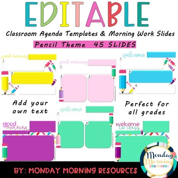 Editable Classroom Agenda and Morning Work Powerpoint Templates
