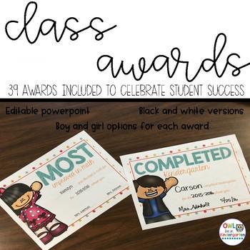 Editable Class Awards