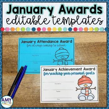 Editable Classroom Awards Certificates January