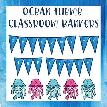 Editable Classroom Banner - Ocean Theme