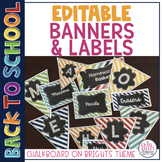 Editable Classroom Banners and Labels {Chalkboard on Brights}