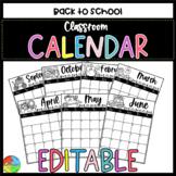 Editable Classroom Calendar 2020-2021 [FREE Yearly Updates]
