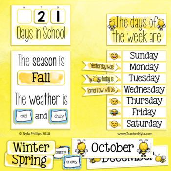 Editable Classroom Calendar Bulletin Board Set - Bee Theme