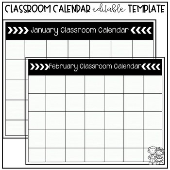 classroom calendar editable template by the adventures of a pnw teacher