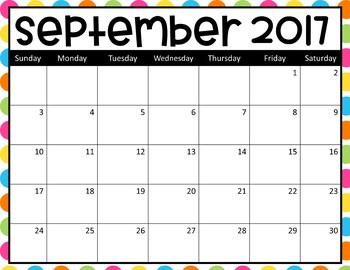 Editable Classroom Calendars 2017 - 6 backgrounds